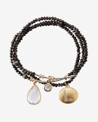 Express - Black Faceted L Initial Stretch Bracelet - Lyst