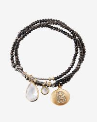 Express - Black Faceted B Initial Stretch Bracelet - Lyst