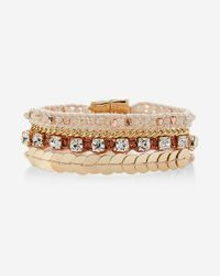 Express | Metallic Rhinestone And Metal Magnetic Bracelet | Lyst