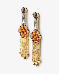 Express - Metallic Stone Flower Chain Fringe Drop Earrings - Lyst