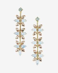 Express | Pink Linear Floral Stone Drop Earrings | Lyst