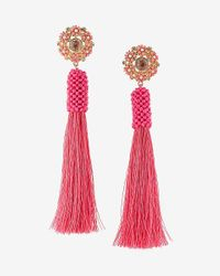 Express | Pink Tassel Post Back Earrings | Lyst