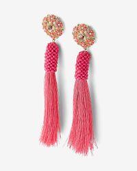 Express - Pink Tassel Post Back Earrings - Lyst