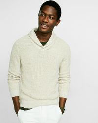 Express | White Cotton Marled Shaker Knit Shawl Collar Popover for Men | Lyst