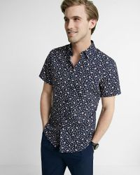 Express | Blue Fitted Floral Short-sleeve Cotton Dress Shirt for Men | Lyst