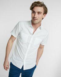Express | White Slub Chambray Short Sleeve Shirt for Men | Lyst