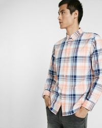 Express | Orange Soft Wash Plaid Button-down Collar Shirt for Men | Lyst