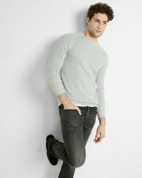 Express | Gray Cotton Mixed Stitch Crew Neck Sweater for Men | Lyst