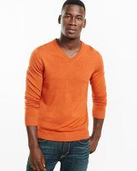 Express | Orange Merino Wool V-neck Sweater for Men | Lyst