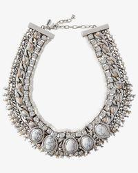 Express - Metallic Rhinestone Chain Howlite Collar Necklace - Lyst