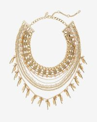 Express - Metallic Layered Rhinestone, Bead And Chain Necklace - Lyst