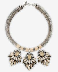 Express - Metallic Double Banded Rhinestone Cluster Necklace - Lyst