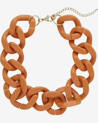Express - Brown Large Resin Status Link Necklace - Lyst