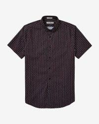 Express - Black Short Sleeve Micro Print Shirt for Men - Lyst
