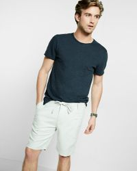 Express | Gray Classic Fit 10 Inch Roll Cuff Linen-cotton Drawstring Shorts for Men | Lyst