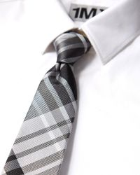 Express - Black Plaid Narrow Silk Tie for Men - Lyst