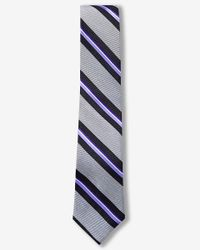Express | Purple Diagonal Stripe Narrow Silk Tie for Men | Lyst