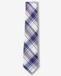 Express | Purple Plaid Narrow Silk Blend Tie for Men | Lyst