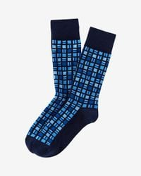 Express | Blue Geo Square Print Dress Socks for Men | Lyst