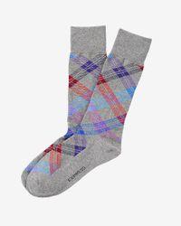 Express - Gray Plaid Dress Socks for Men - Lyst