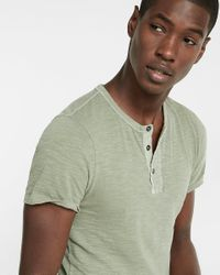 Express - Green Wide Placket Garment Dyed Short Sleeve Henley for Men - Lyst