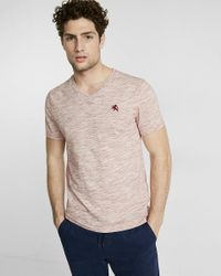 Express | Red Space Dye Jersey V-neck Tee for Men | Lyst