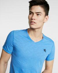 Express | Blue Small Lion Slub V-neck Tee for Men | Lyst