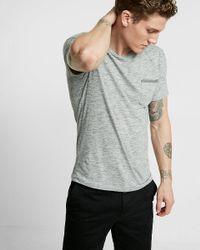Express | Black Striped Front Pocket Crew Neck Tee for Men | Lyst