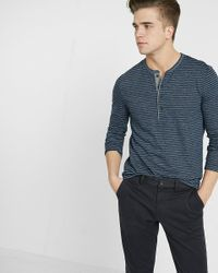 Express | Blue Twisted Slub Stripe Henley for Men | Lyst