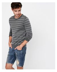 Express Green Arment Dyed Striped Crew Neck Sweater for men