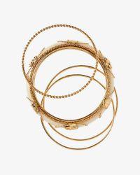 Express - Metallic Set Of Four Mixed Bangle Bracelets - Lyst