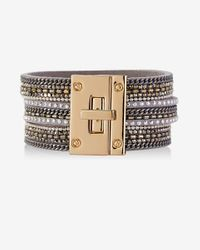 Express | Multicolor Triple Band Mixed Chain And Rhinestone Bracelet | Lyst