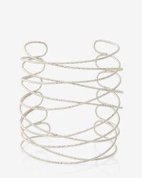 Express - Metallic Textured Crisscross Cuff - Lyst