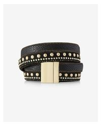 Express - Metallic Double Wrap Studded Faux Leather Bracelet - Lyst