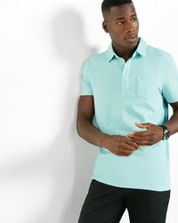 Express - Blue Hidden Placket Signature Polo for Men - Lyst