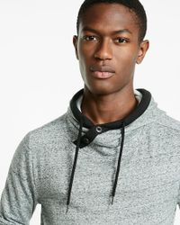 Express | Gray Speckled Fleece Crossover Popover Hoodie for Men | Lyst