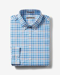 Express   Blue Fitted Plaid Easy Care Button Down Collar Dress Shirt for Men   Lyst