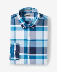 Express | Blue Fitted Easy Care Plaid Button-down Dress Shirt for Men | Lyst
