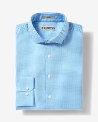 Express | Blue Fitted Small Check Dress Shirt for Men | Lyst