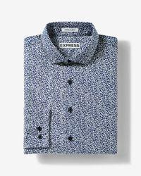 Express   Blue Slim Fit Floral Dress Shirt for Men   Lyst