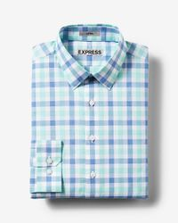 Express | Blue Fitted Plaid Cotton Dress Shirt for Men | Lyst