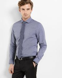 Express | Blue Modern Fit Micro Print Dress Shirt for Men | Lyst