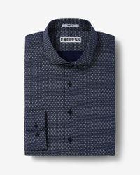 Express | Blue Slim Fit Micro Print Dress Shirt for Men | Lyst