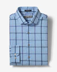 Express | Blue Modern Fit Plaid Dress Shirt for Men | Lyst