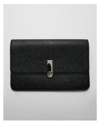 Express - Black Metallic Turnlock Clutch - Lyst