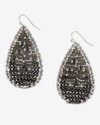 Express - Black Seedbead Teardrop Earrings - Lyst