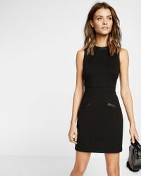 Express - Black (minus The Leather) Accent Sheath Dress - Lyst