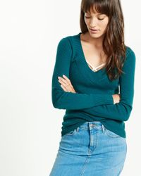 Express - Green Fitted V-neck Sweater - Lyst