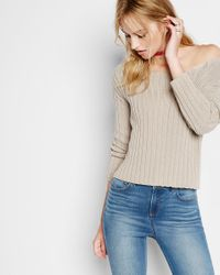 Express | Natural Wide Ribbed Bateau Neck Abbreviated Sweater | Lyst