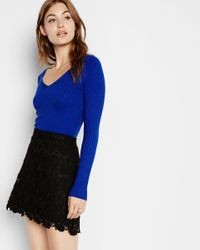 Express - Blue Wide Ribbed V-neck Sweater - Lyst
